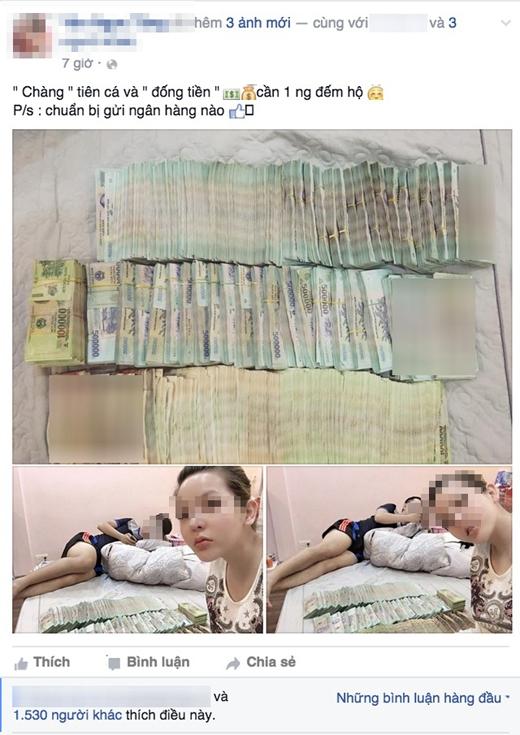 Côhot girl khoe một số tiền khổng lồ lên mạng. Ảnh: Internet