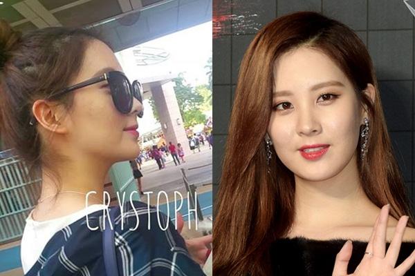 """Em út Seohyun của SNSD là một người đẹp thường xuyên bị mụn nhọt """"hoành hành"""" trên da, với khuôn mặt để mộc (ảnh trái) tuy không được rõ nhưng công chúng vẫn nhận ra được là da bị mụn kém hoàn hảo của cô nàng. Chính vì vậy Seohyun luôn phải nhờ cậy trang điểm để che giấu tình trạng da của mình."""