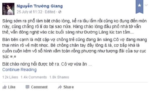 Những dòng chia sẻ từ facebook của Giang Popper về anh chàng xăm mình. (Ảnh: Internet))