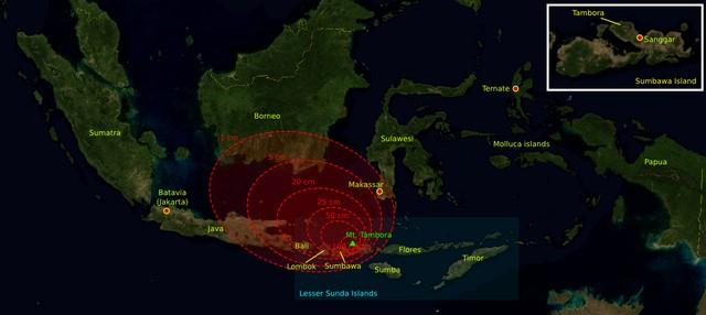 Tầm ảnh hưởng của vụ phun trào núi lửa năm 1815.