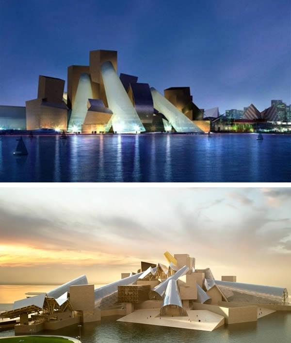 """Được kì vọng sẽ là """"kì quan kiến trúc thế giới"""" với lối kiến trúc lạ mắt, tuy nhiên cuối cùng bảo tàng Guggenheim ở Abu Dhabi đã không được xây dựng. Thiết kế bởi kiến trúc sư người Mỹ Frank Gehry, bảo tàng khởi công năm 2011, dự kiến sẽ hoàn thành vào năm 2012 nhưng bị đình chỉ. Đến năm 2015, các cọc bê tông chôn xuống trước đó bị dỡ bỏ. Chưa biết khi nào dự án được khởi động trở lại. (Ảnh: Oddee)"""