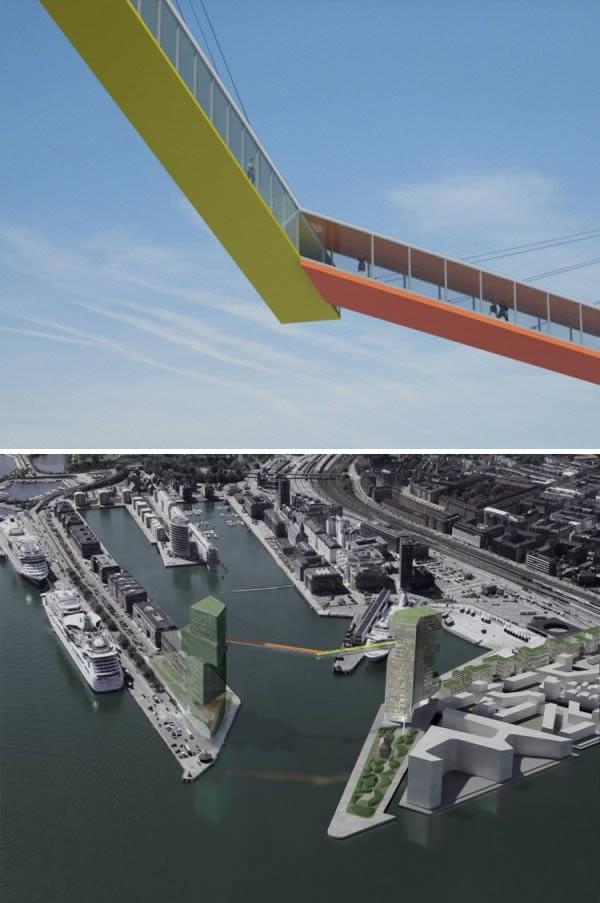 Năm 2008, một ý tưởng táo bạo, đó là cây cầu bắc qua hai tòa nhà chọc trời ở Copenhagen, được thiết kế bởiSteven Holl, một kiến trúc sư người Mỹ. Đáng buồn thay, do vấp phải một số ý kiến không đồng tình từ chính quyền địa phương, dự án xây dựng cây cầu cuối cùng bị hủy bỏ vào năm 2015. (Ảnh: Oddee)
