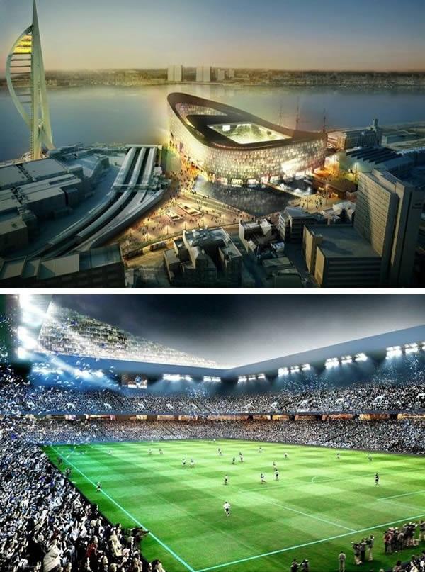"""Từng thiết kế những sân vận động nổi tiếng như Arena Allianz của CLB Bayern Munich hay sân vận động quốc gia Bắc Kinh, Trung Quốc, công ty kiến trúc Thụy Sỹ Herzog và De Meuron có ý tưởng xây dựng cho câu lạc bộ Portsmouthmột """"pháo đài"""" hình chiếc thuyền. Chi phí của nó vào khoảng 600 triệu Bảng (20,5 ngàn tỉ đồng) nhưng cuối cùng, do khủng hoảng tài chính năm 2008, mọi thứ bị """"đổ bể"""". (Ảnh: Oddee)"""