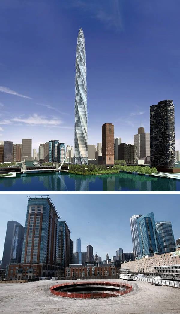 Hơn 10 năm trước, một dự án đầy tham vọng đã được đề xuất bởi công ty Garrett Kelleher.Trong dự ánđó sẽxây dựng một tháp xoắn cao 610 mét, gồm 116 tầng, thiết kế bởi Calatrava và đặt gần bờ nam sông Chicago. Tuy nhiên, do rắc rối về tài chính cũng như các vụ kiện tụng, cuối cùng dự án không thểthực hiện. (Ảnh: Oddee)