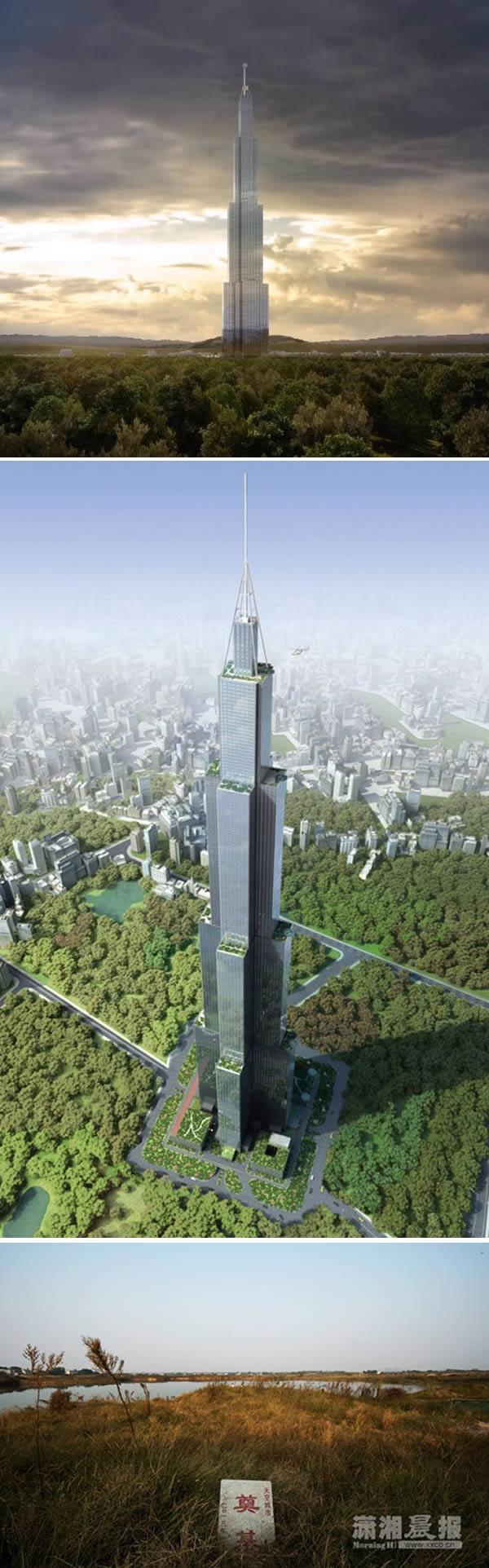 Năm 2013, BSB -một công ty con của Tập đoàn Broad, Trung Quốc – đã lên kế hoạch xây dựng tòa nhà chọc trời 838 mét trong thời gian kỉ lục 90 ngày tại Changsha. Nhưng sau khi hoàn thành được phần móng, nó đã không thể tiếp tục xây và được người dân dùng làm... chỗ nuôi cá. (Ảnh: Oddee)