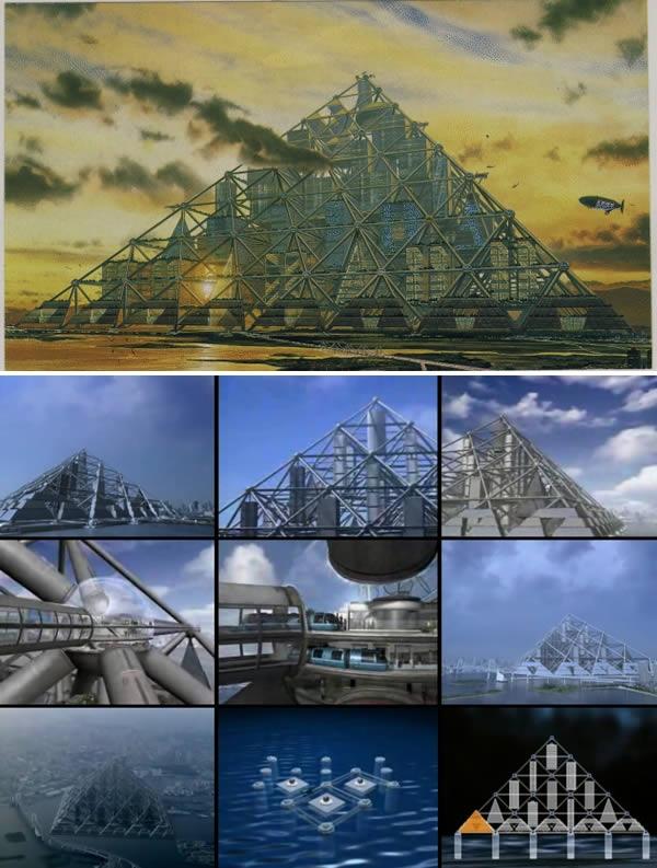 Lấy ý tưởng từ kim tự tháp, người ta đã lên kế hoạch xây dựng tòa nhà tại vịnh Tokyo, Nhật Bản. Dự kiến, tòa nhà có thể chứa được tới 750.000 người và là công trình nhân tạo lớn nhất hành tinh (cao 2.004 mét). Các vật liệu siêu nhẹ đã được tính đến, tuy nhiên dự án vẫn đang bị để ngỏ. (Ảnh: Oddee)