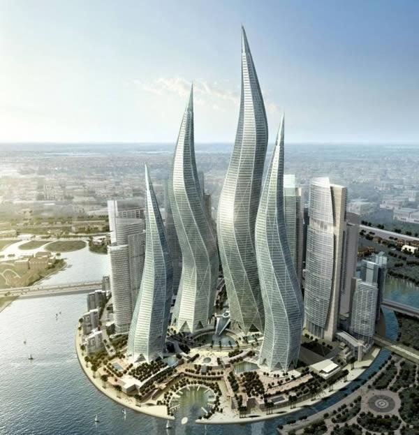 """Khu phức hợp gồm 4 tòa tháp dự kiến sẽ được xây dựng tại Dubai. Các tòa nhà này sẽ cao từ 57-94 tầng, cao từ 300 – 400 mét... Tuy nhiên, do suy thoái kinh tế, dự án đang bị """"đóng băng"""". (Ảnh: Oddee)"""