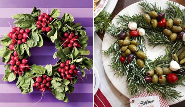 4. Một chiếc vòng được cuốn từ lá thông có thể được đặt ở góc bàn tiệc, hay trên tường mà không nhất thiết phải treo ở cửa ra vào cũng góp phần làm tăng không khí Giáng sinh cho ngôi nhà bạn.