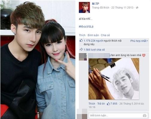 """Năm 2013, fanpage của Sơn Tùng M-TP đã sớm sở hữu hơn 7 triệu người yêu thích, thuộc top trong số những nghệ sĩ Việt. Bức ảnh thu hút sự chú ý của hơn 1 triệu người hâm mộ lại là khoảnh khắc vô cùng đơn giản. """"Hiện tượng Vpop"""" cực điển trai, sánh đôi bên 1 hotgirl xinh đẹp và kèm câu hỏi khơi gợi tính tò mò: """"Ai kia nhỉ?"""" - Tin sao Viet - Tin tuc sao Viet - Scandal sao Viet - Tin tuc cua Sao - Tin cua Sao"""