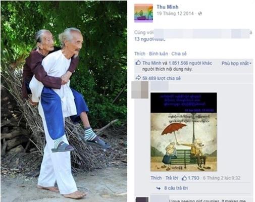 """Fanpage của """"Nữ hoàng nhạc dance"""" Thu Minh chỉ có hơn 2 triệu người thích nhưng 1 bức ảnh được đăng tải vào ngày 19-12-2014 đã """"gom"""" về tới 1,8 cú """"click"""" chuột tại nút """"Like"""" (thích). Đó là hình ảnh 1 cụ ông cao tuổi, đi chân trần và cõng cụ bà vô cùng tình cảm, thiêng liêng. Không chia sẻ kèm theo bất cứ câu nói nào nhưng Thu Minh đã nhận về hàng chục nghìn bình luận và gần 60 nghìn chia sẻ. - Tin sao Viet - Tin tuc sao Viet - Scandal sao Viet - Tin tuc cua Sao - Tin cua Sao"""