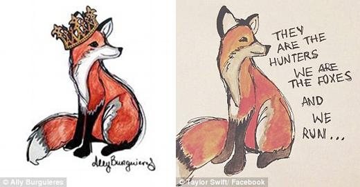 Tranh vẽ củaAlly Burguieres (trái) và bức ảnh Taylor chia sẻ trên mạng xã hội. (Ảnh: Daily Mail)