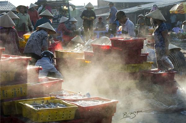 Người ngư dân ở đây còn rất sáng tạo khi lập những trạm phân loại hải sản ngay ngoài khơi xa để rút ngắn khâu vận chuyển.(Ảnh: Nguyễn Vũ Phước)
