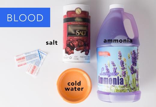 Máu: Pha muối vào nước lạnh với tỉlệ nửa muỗng cà phê muối + 1 cốc nước, rồi ngâm vải vào dung dịch này trong 2 giờ. Tiếp tục pha dung dịch amoniac vào nước với tỉlệ 1:2, rồi dùng dung dịch này để giặt vải.(Ảnh: Greatist)