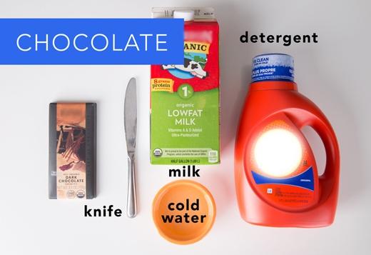 Socola: Lấy dao cạo sạch chỗ socola dính trên vải, rồi đổ sữa tươi lên những chỗ còn bám bẩn và đợi trong 5 phút. Sau đó ngâm vải vào nước lạnh rồi dùng ngón tay chà những chỗ còn bám bẩn. Cuối cùng, dùng bột giặt lỏng chấm lên vết bẩn rồi giặt bình thường. (Ảnh: Greatist)