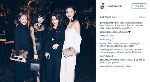 Khả Ngân thân thiết với fashionista nổi tiếng đến từ Malaysia và Philipine.(Ảnh: Internet)