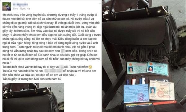 Anh Tú chia sẻ câu chuyện bắt cướp của mình trên trang cá nhân. (Ảnh: Internet)