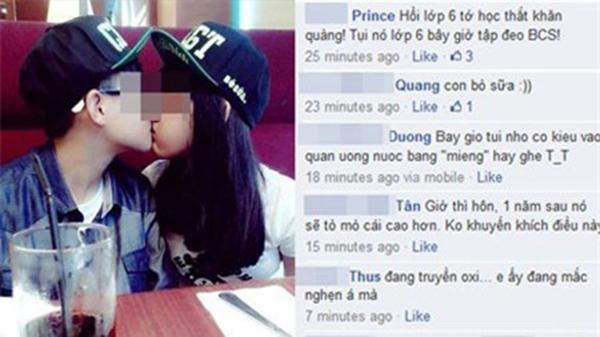 Cặp đôi nhi đồng, vô tư âu yếm nơi công cộng và đăng tải ảnh lên mạng xã hội.