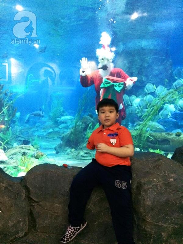 Long khoe mình được nhận ra khi đi chơi, còn được vào xem cá không mất tiền.