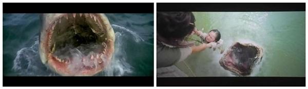 Cảnh thủy quái nhe hàm răng gớm ghiếc cũng không khác so với hàm cá mập trong bộ phim Jaws của Steven Spielberg.