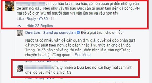 Cư dân mạng bức xúc với ý kiến của Dưa Leo về Hoa hậu Hoàn vũ