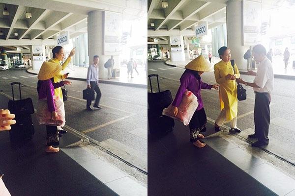 Dù khá bận rộn nhưng nữ tiếp viên vẫn dừng lại hướng dẫn tận tình cho một cụ bà đang bị lạc khiến nhiều người cảm phục.