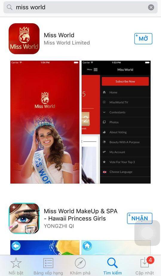Tìm và tải, cài đặt ứng dụng của Miss World trên điện thoại. Sau đó giao diện chính sẽ hiện ra như hình trên. - Tin sao Viet - Tin tuc sao Viet - Scandal sao Viet - Tin tuc cua Sao - Tin cua Sao