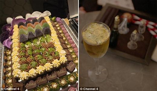 Một hộp socola như thế này sẽ mời khách hàng vung ra từ 1.000 đến 1.500 đô la (khoảng từ 20 đến 30 triệu đồng). Còn nước uống sẽ là món cocktail đắt đỏ nhất thế giới, với đồ uống bên dưới và vàng lá phủ bên trên, có giá hơn 13.000 đô la (hơn 260 triệu đồng). (Ảnh: Daily Mail)