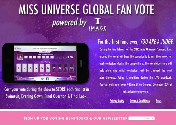 """Dotrang web của Hoa hậu Hoàn vũ vẫn chưa mở bình chọn, nhưng bạn có thể đăng kíemail để được nhắc tham gia bình chọn. Truy cập http://missuniverse.com/vote/ . Sau đó, bạn sẽsẽ thấy thông báo về việc bình chọn của Miss Universe,rồinhập địa chỉ email vào ô trắng cạnh dòng""""Sign up for voting reminders & our letters"""". - Tin sao Viet - Tin tuc sao Viet - Scandal sao Viet - Tin tuc cua Sao - Tin cua Sao"""