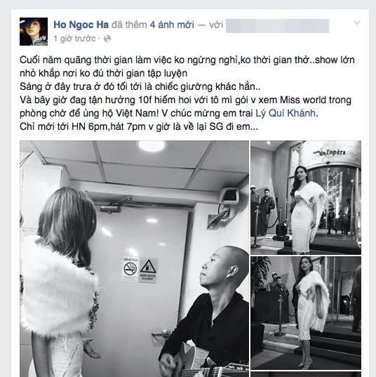 Hồ Ngọc Hà chúc mừng NTK Lý Quí Khánh khi anh chính là người thiết kế chiếc đầm dạ hội giúp Lan Khuê đoạt giải World Designer Award. - Tin sao Viet - Tin tuc sao Viet - Scandal sao Viet - Tin tuc cua Sao - Tin cua Sao