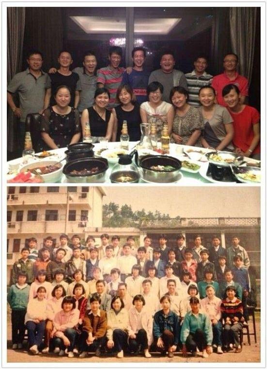 Những buổi họp mặt bạn cũ luôn tràn ngập niềm vui và tiếng cười (người đứng thứ 3 từ trái sang ở hàng sau là Tiền Phong Lôi).