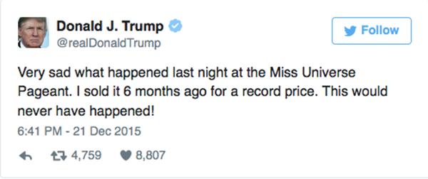 """Đồng thời trên Twitter, Donald Trump cũng có viết như sau: """"Thật buồn vì những gì đã xảy ra đêm qua tại Hoa hậu Hoàn vũ. Tôi bán bản quyền cuộc thi cách đây 6 tháng với mức giá kỉlục. Điều này có lẽ đã không xảy ra...""""."""
