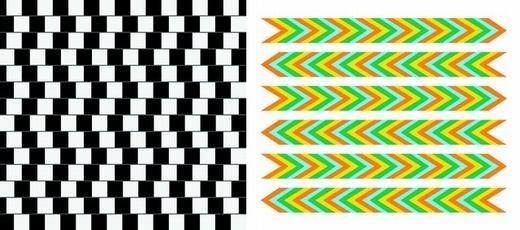 Các đường kẻ sọc là song song, còn nếu không, bạn đã bị ảo giác quang học đánh lừa. Nguyên nhân là do các đường kẻ sọc theo dạng cắt nhau liên tục và mắt ta xử lí không kịp, từ đó tín hiệu truyền đến não đảo chiều và ta có cảm giác chúng bị cong. (Ảnh: Internet)