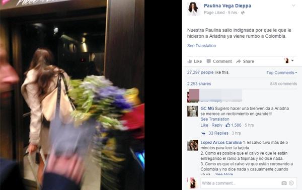 Paulina Vega bỏ về ngay sau đêm chung kết.