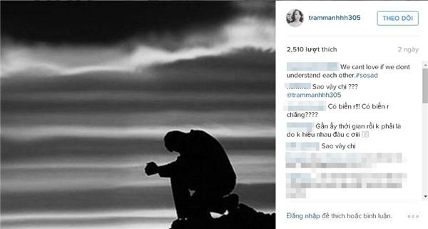 Bức hình cô đăng tải cùng dòng tâm trạng buồn.(Ảnh: Internet)