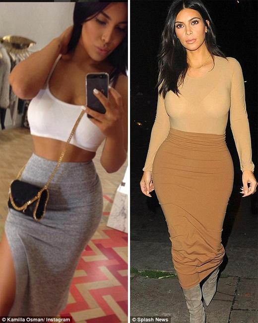 Cô thích ăn mặc, thậm chí chụp ảnh tự sướng giống Kim. (Ảnh: Daily Mail)