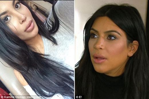 Cộng đồng mạng đặt cho cô biệt danh là em gái sinh đôi của Kim. (Ảnh: Daily Mail)