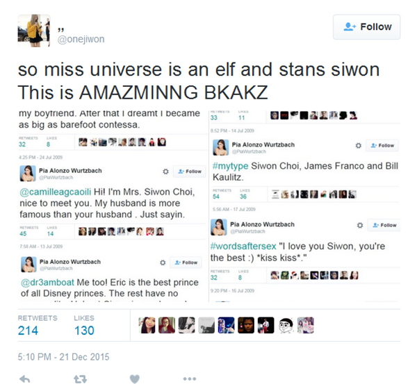 Fan thích thú khiPia Alonzo Wurtzbach là 'fan cuồng' của Choi Siwon.