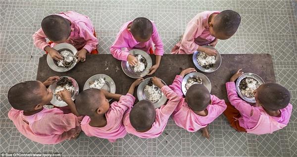 Những chú tiểu trong bộ quần áo màu hồng ởmột tu viện gần thủ đô Yangon, Myanmar. (Ảnh: Sue O'Connell, Anh)