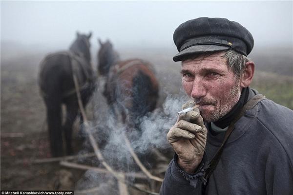 Phút nghỉ ngơi sau khi làm ruộng của người đàn ông mang hai dòng máu Hungary và Romania tại Maramures, Romania. (Ảnh: Mitchell Kanashkevich, Úc)