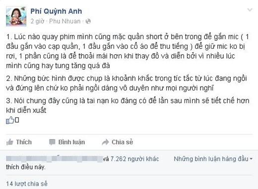 Quỳnh Anhphân trần về việc mình bị mọi người chorằng ngồi hớ hênh.(Ảnh: Internet)