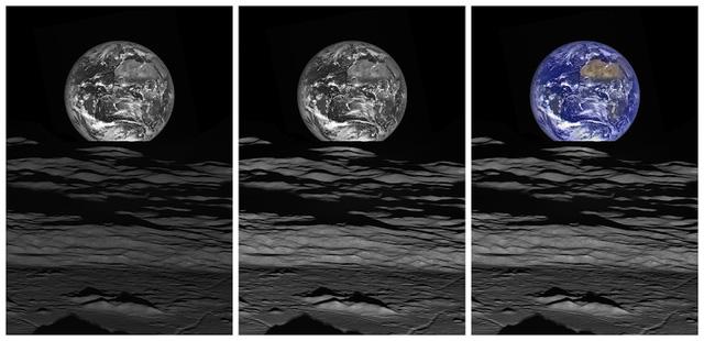 Những sự khác nhau của từng bức ảnh qua xử lý. Bên trái là hình ảnh gốc. Ở giữa là hình ảnh đã được chỉnh màu sắc và độ tương phản. Bên phải là hình ảnh Trái Đất đã được tô màu.