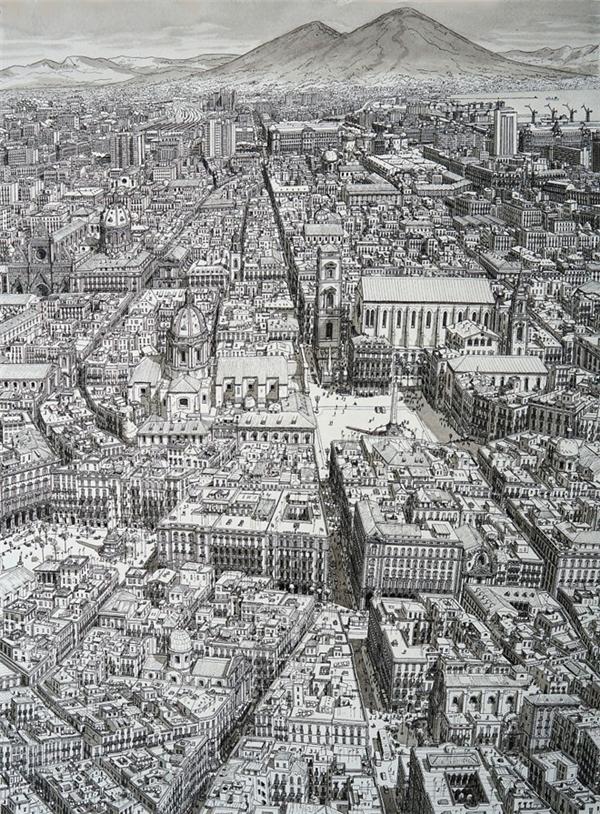 TheoBoredPanda, chàng họa sĩ trẻ tuổi sống và làm việc tại Eindhoven, Hà Lan đã vẽ những bức tranh phác họa các thành phố nổi tiếng - nơi anh từng đi qua. Trong ảnh là địa danhSpacca Napoli, Naples, Italy.