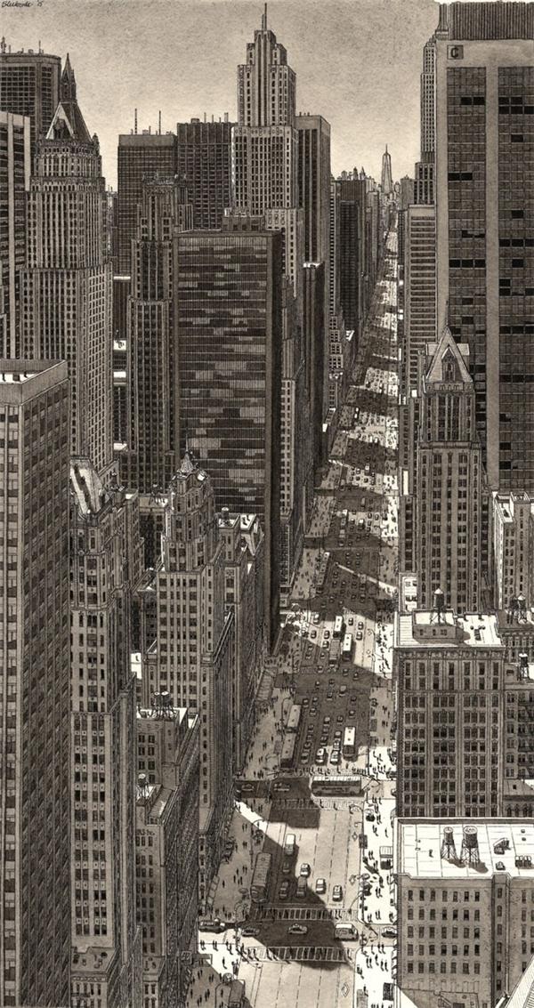 Bức vẽ thành phố New York của Stefan Bleekrode được vẽ lại chủ yếu từ tưởng tượng trong trí nhớ của anh.