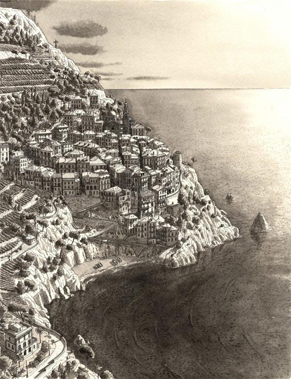 Stefan Bleekrode cho biết, anh gặp khó khăn khi vẽ lại những nơi đã đi qua, ngay lúc anh chứng kiến chúng. Tuy nhiên, khi ngồi tưởng tượng, anh lại có động lực vẽ tranh đến kỳ lạ. Trong tranh là địa danhVillage In Cinque Terre tại Italy.