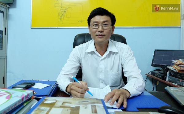 Ông Thành - Hiệu trưởng trường THPT An Dương Vương trả lời phỏng vấn.