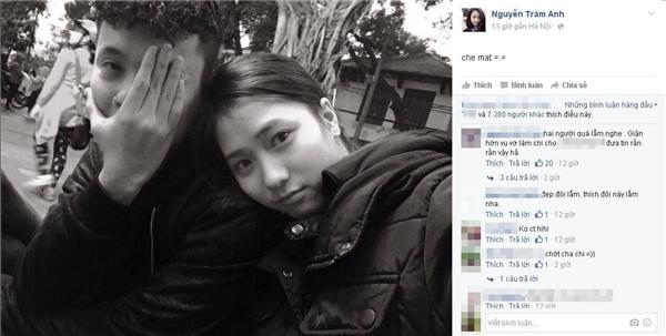 Ngay sau đó,Trâm Anhcũng đăng bức hình cô tình cảmdựa vào vai người yêu.(Ảnh: Internet)
