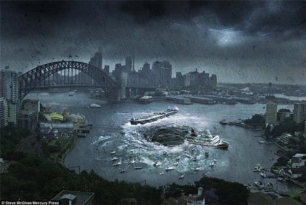 Khung cảnh tàu thuyền bị hút vào một hố tử thần khổng lồ ở bến cảng Sydney (Australia).