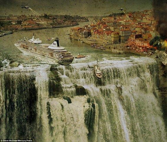 Một con tàu du lịch sắp sửa rơi xuống từ trên thác nước cuồn cuộn.