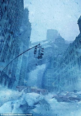 Một thành phố bị nhấn chìm trong làn mưa tuyết và băng đá dày đặc.