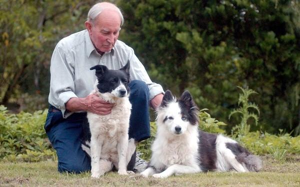 Hai chú chó Tina và Kate bên người giám hộ Henry Scott. (Ảnh: Internet)